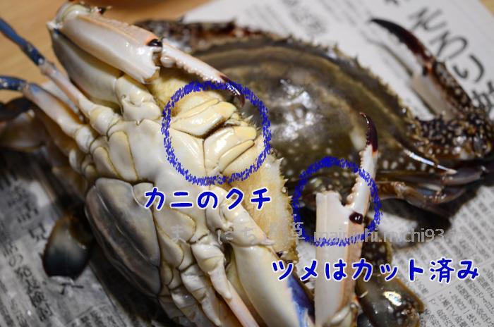 カニの口に千枚通しを刺して〆ます。はさみの部分を切ってあるカニは真水で茹でます。