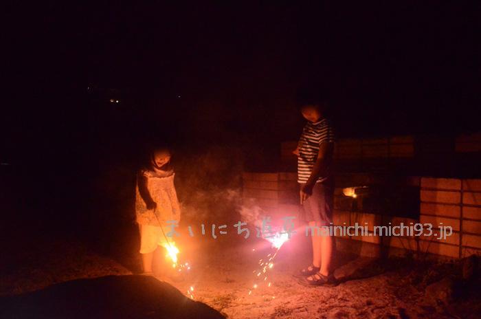 キャンプ最後の夜は、花火で〆
