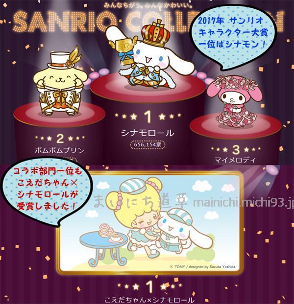 サンリオキャラクター大賞 32nd (2017)一位はシナモロール!